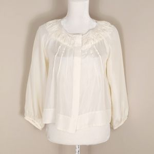 See by Chloe Silk Pleated Flowy Button Down Blouse